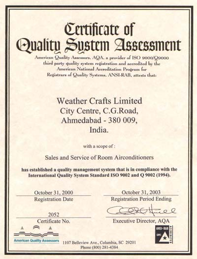 ISO 9002-Certificate